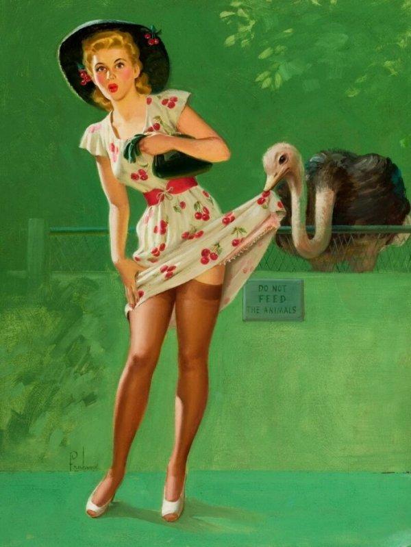 Картины с девушками в стиле пин-ап, на которых изображена одна повторяющаяся и пикантная деталь Эротика