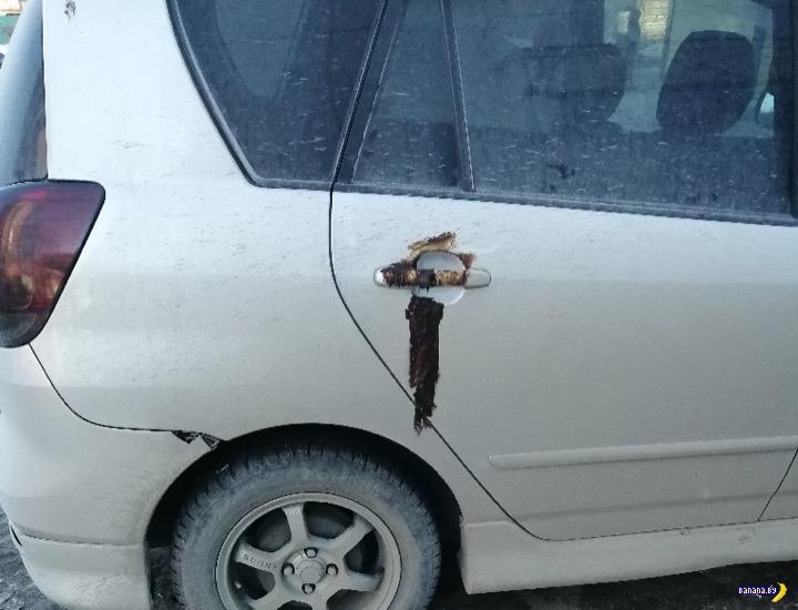 Коричневая месть за неправильную парковку авто и мото
