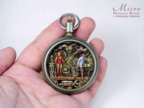 Миниатюрные миры из старых часов мастерство