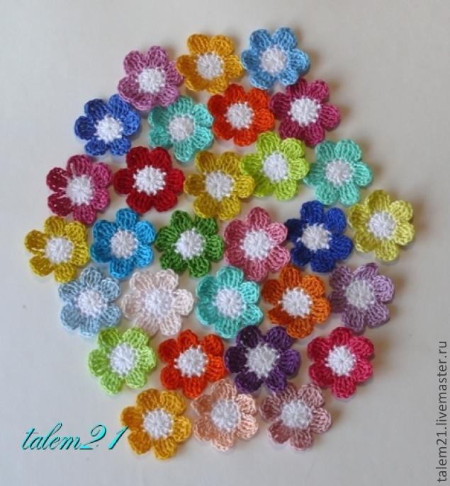 Цветочки из остатков пряжи вязание крючком